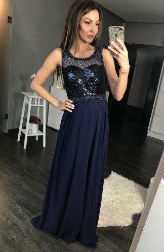 Sukienka z cekinową górą granatowa