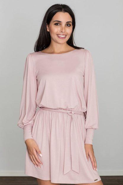 Sukienka do pracy z paskiem różowa