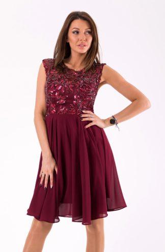 Sukienka z połyskującą górą bordowa