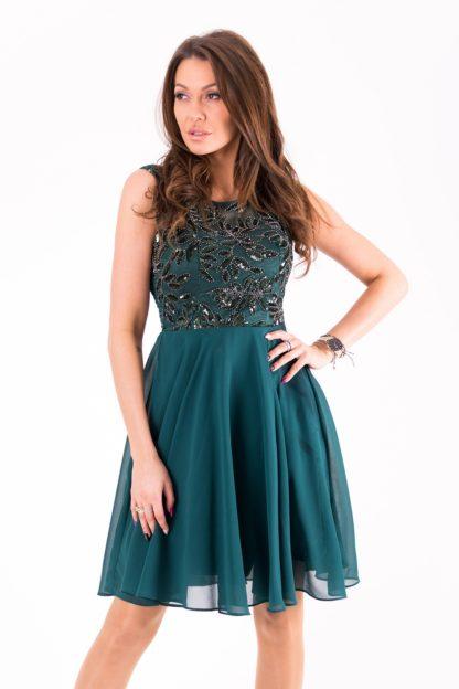 Sukienka z połyskującą górą zielona