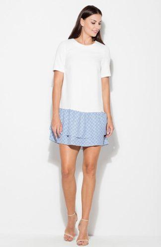 Sukienka z niebieskimi falbanami biała