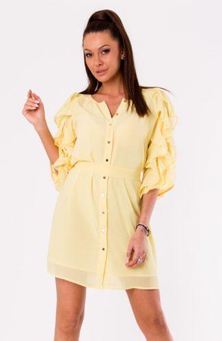 Sukienka z ozdobnymi rękawami żółta