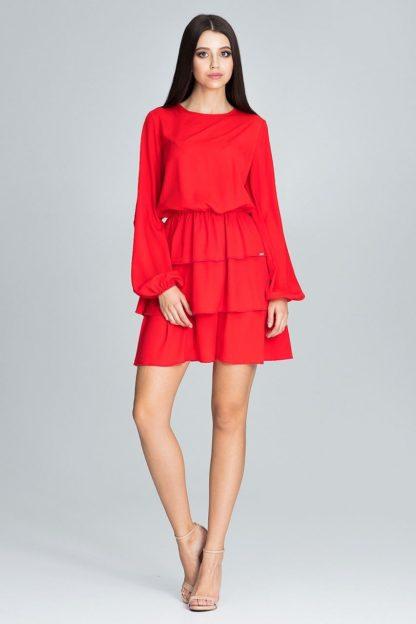 Sukienka z szerokimi rękawami czerwona