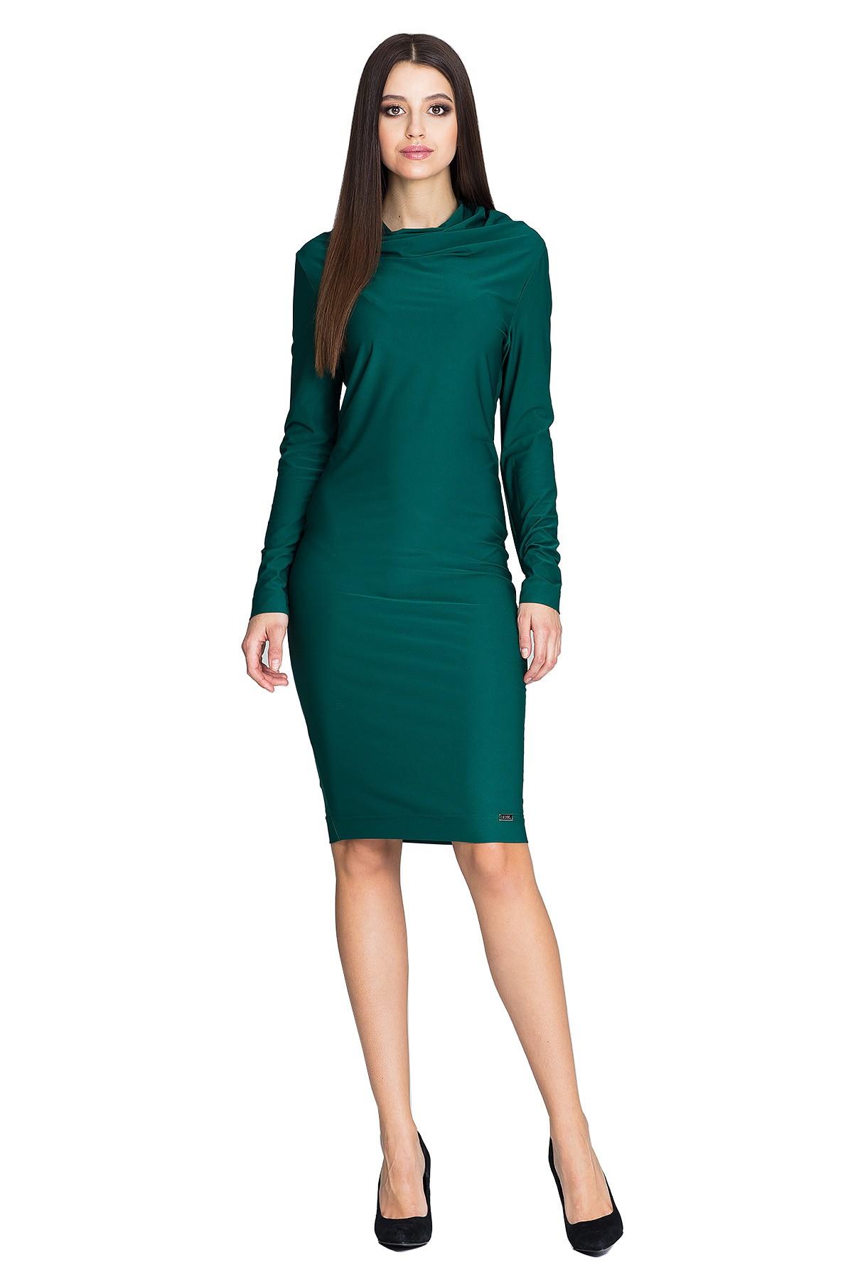 f070e4d310 Sukienka ołówkowa do pracy z długim rękawem zielona · 13Sukienek.pl