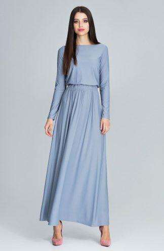 Prosta długa sukienka szara