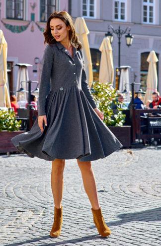 Sukienka z długim rękawem z guzikami grafitowa