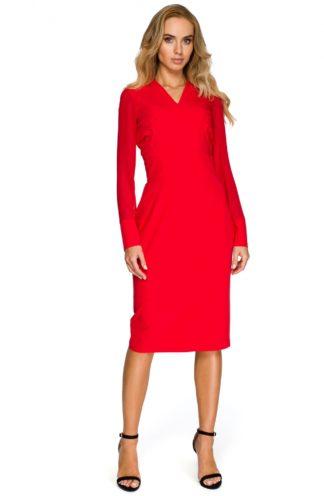 Sukienka szyfonowymi rękawami czerwona