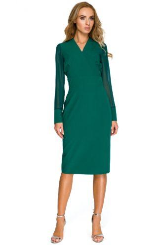 Sukienka z szyfonowymi rękawami zielona