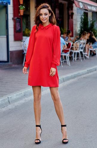 Sukienka biznesowa z kołnierzykiem czerwona