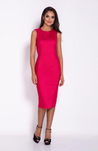 Sukienka mocno dopasowana malinowa