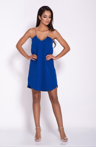 Mini sukienka na łańcuszku niebieska