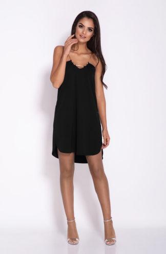 Mini sukienka na łańcuszku czarna