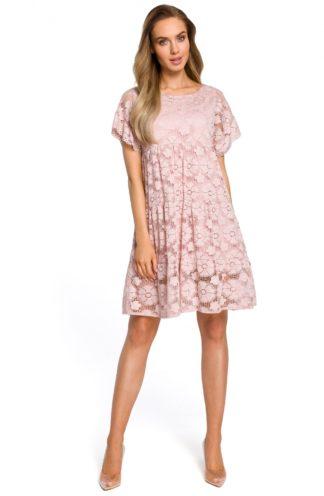 Sukienka łezka z koronki róż