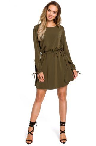 Sukienka ściągana w pasie khaki
