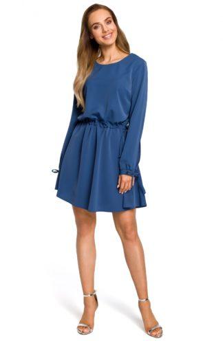 Sukienka ściągana w pasie niebieska