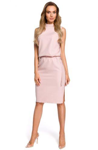 Sukienka biznesowa ze stójką róż