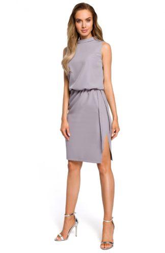 Sukienka biznesowa ze stójką szara