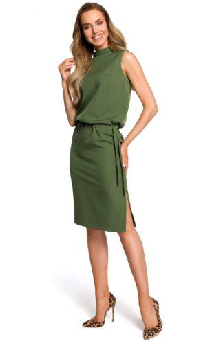 Sukienka biznesowa ze stójką zielona