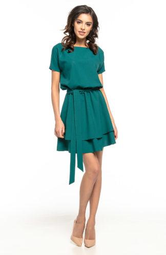 Sukienka z podwójną spódnicą zielona