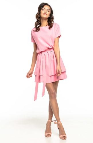 Sukienka z podwójną spódnicą różowa