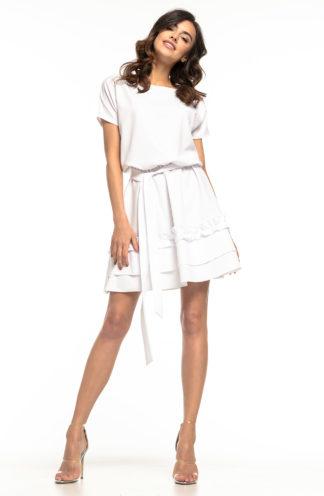 Sukienka mini wiązana biała