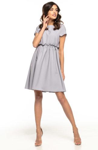 Sukienka z drapowaniem w talii szara