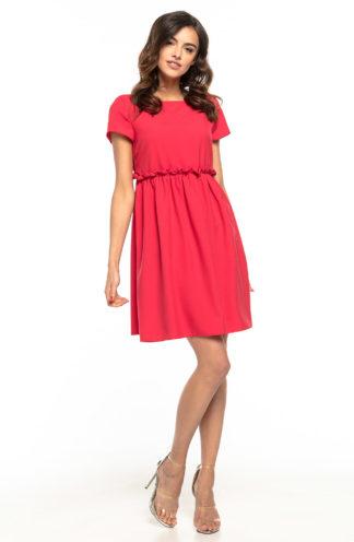 Sukienka z drapowaniem w talii malinowa