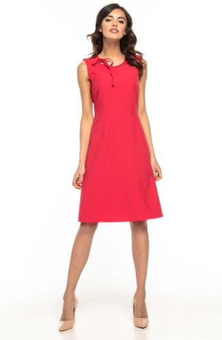 Sukienka biznesowa midi z wiązaniem malinowa