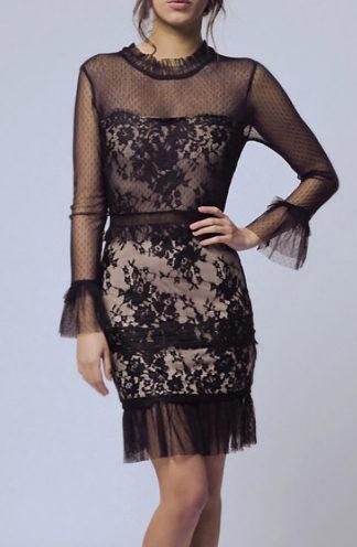 Koronkowa sukienka z siateczką czarna
