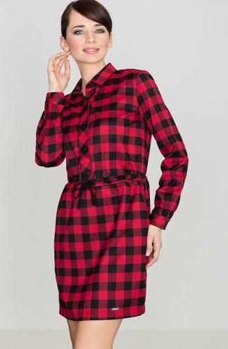 Sukienka wiązana w kratę czerwona