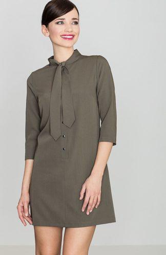 Sukienka wiązana przy szyi oliwkowa