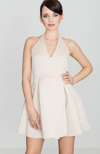 Sukienka z dwurzędowymi guzikami beżowa