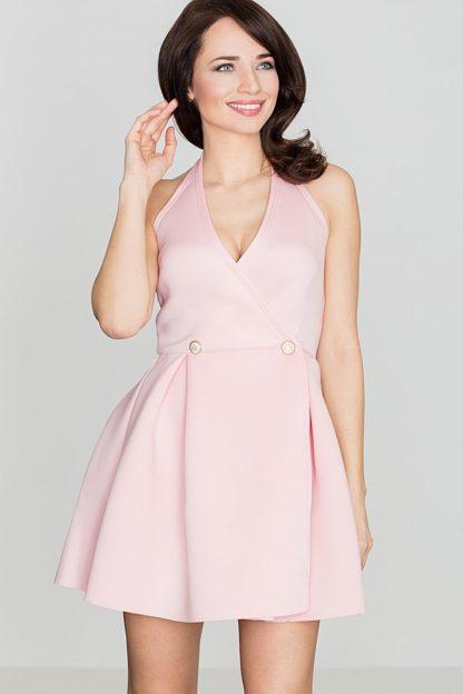 Sukienka z dwurzędowymi guzikami różowa