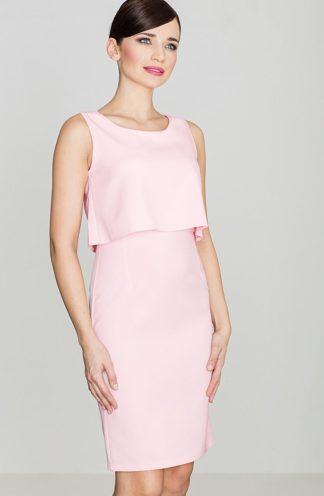 Sukienka ołówkowa z narzutką różowa
