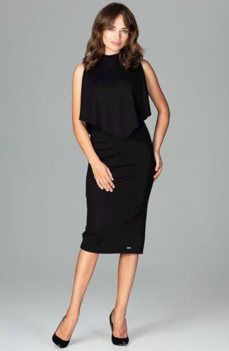 Sukienka elegancka na stójce czarna