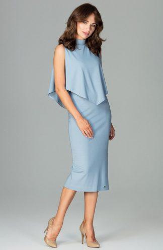 Sukienka elegancka na stójce niebieska