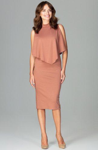 Sukienka elegancka na stójce brązowa