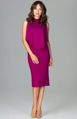 Sukienka elegancka na stójce fuksja