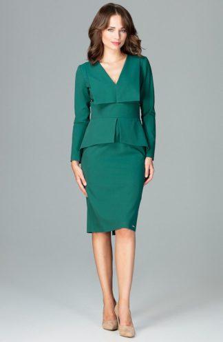 Sukienka z geometryczną baskinką zielona