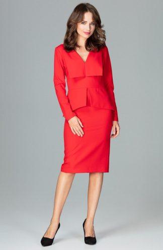 Sukienka biznesowa z baskinką czerwona