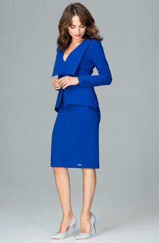 Sukienka z geometryczną baskinką niebieska