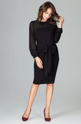 Sukienka z kokardą w pasie czarna