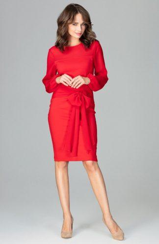 Sukienka z kokardą w pasie czerwona