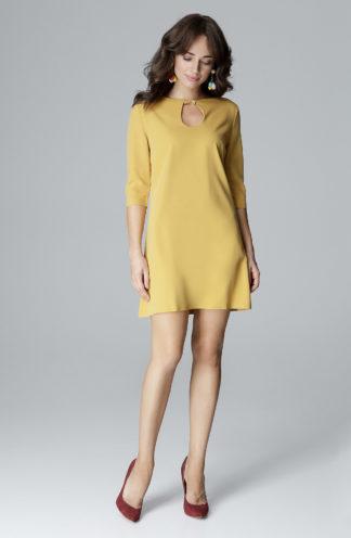 Sukienka z okrągłym dekoltem żółta