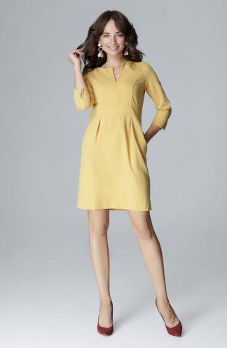 Sukienka z dekoltem w kształcie V żółta