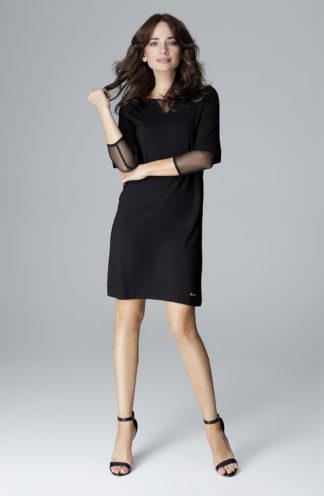 Sukienka z szyfonowymi wstawkami czarna