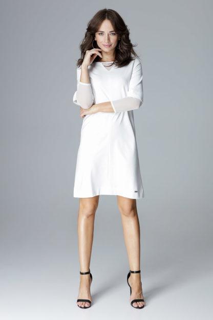 Sukienka z szyfonowymi wstawkami ecru