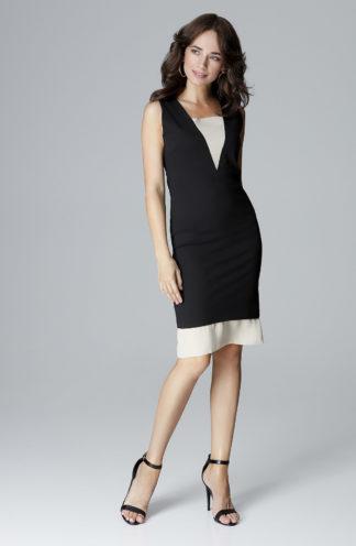 Sukienka z szyfonowym dekoltem czarna