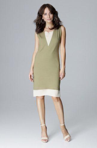 Sukienka z szyfonowym dekoltem oliwkowa