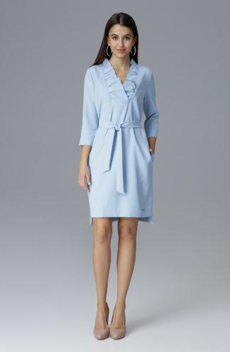 Sukienka z falbaną przy dekolcie niebieska